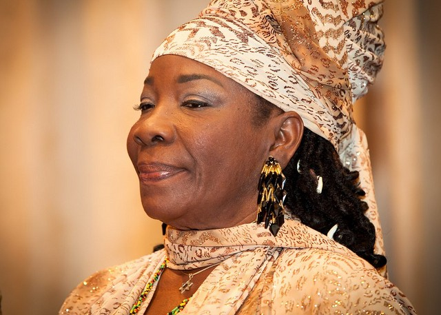 Rita Marley waits for her award